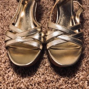 Ralph Lauren Shoes - Ralph Lauren Gold Wedge Sandal Heels Size 8B NEW!!